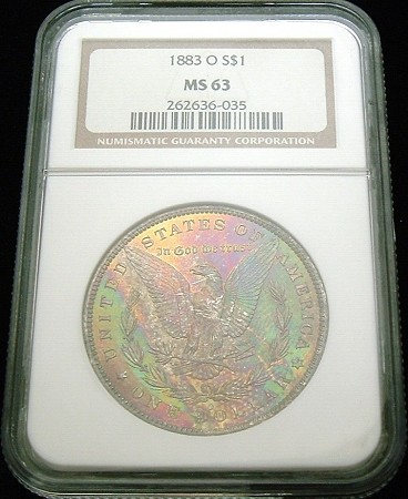 1883 O MORGAN SILVER DOLLAR NGC MS 63 MONSTER RAINBOW COLOR TONE