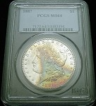 1887 P MORGAN SILVER DOLLAR PCGS MS64 ORIGINAL RAINBOW COLOR TONE
