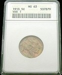 1913 TYPE 1 BUFFALO NICKEL ANACS MINT STATE 63 MONSTER RAINBOW TONE