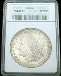 1884 O MORGAN SILVER DOLLAR ANACS MS 64 CRESCENT RAINBOW