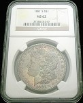 1881 S MORGAN SILVER DOLLAR NGC MS 62 COOL BLUE COLOR TONE/019