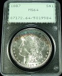1887 MORGAN SILVER DOLLAR PCGS MS 64 COLOR TONE OLD RATTLER