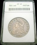 1831 BUST HALF DOLLAR ANACS EXTREMELY FINE (EF) 40 COLOR TONE /189