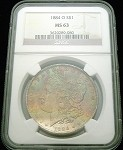 1884 O MORGAN SILVER DOLLAR NGC MS 63 BEAUTIFUL COLOR TONE