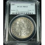 1887 P MORGAN SILVER DOLLAR PCGS MS 63 /7260