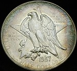 1937 D TEXAS COMMEMORATIVE HALF DOLLAR RAW BU WITH COLOR