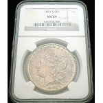 1881 S MORGAN SILVER DOLLAR NGC MS 64 ORIGINAL COLOR TONE