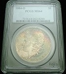 1884 O MORGAN SILVER DOLLAR PCGS MS64 ORIGINAL RAINBOW COLOR TONE