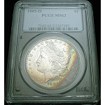 1885 O MORGAN SILVER DOLLAR PCGS MS63 ORIGINAL RAINBOW COLOR TONE