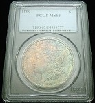 1890 P MORGAN SILVER DOLLAR PCGS MS63 DOUBLE SIDED COLOR TONE