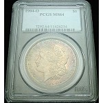 1904 O MORGAN SILVER DOLLAR PCGS MS 64 BEAUTIFUL COLOR TONE/6234