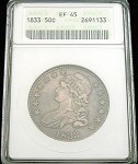 1833 BUST HALF DOLLAR ANACS EXTREMELY FINE (EF) 45 COLOR TONE