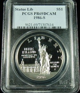 1986 S STATUE OF LIBERTY SILVER DOLLAR PCGS PROOF 69 DEEP CAMEO