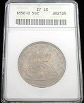 1856 O SEATED HALF DOLLAR ANACS EXTREMELY FINE 45 WONDERFUL COLOR TONE