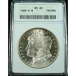 1880 S MORGAN SILVER DOLLAR ANACS MS 65 OUTSTANDING LUSTER