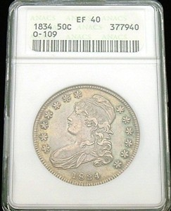 1834 BUST HALF DOLLAR ANACS EXTREMELY FINE (EF) 40 BEAUTIFUL ORIGINAL COLOR
