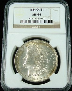 1884 O MORGAN SILVER DOLLAR NGC MS 64 BEAUTIFUL ORIGINAL COLOR TONE
