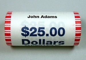 2007 D JOHN ADAMS PRESIDENTIAL DOLLAR SHOTGUN ROLL OBW