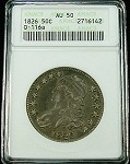 1826 BUST HALF DOLLAR ANACS ABOUT UNCIRCULATED (AU) 50 OVERTON 116a