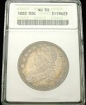 1822 BUST HALF DOLLAR ANACS ABOUT UNCIRCULATED (AU) 50 ORIGINAL COLOR TONE