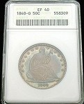 1840 O SEATED HALF DOLLAR ANACS EXTREMELY FINE (EF) 40 COLOR TONED