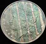 1882 P MORGAN SILVER DOLLAR WILD COLOR TONE