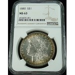 1880 P MORGAN SILVER DOLLAR NGC MS 63 COOL COLOR TONE BETTER DATE